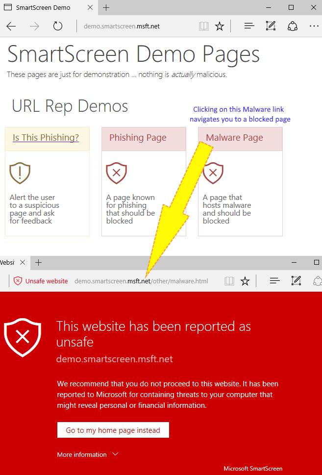 Smartscreen Demo Pages