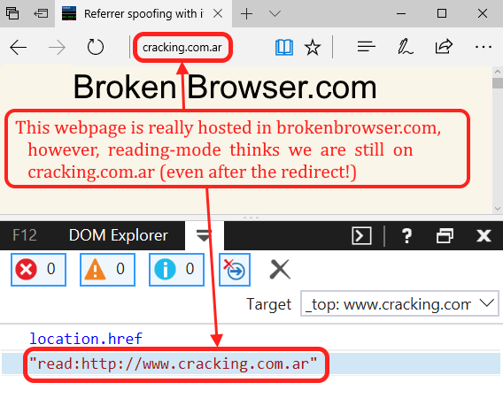 SOP bypass courtesy of the reading mode (Edge) – Broken Browser
